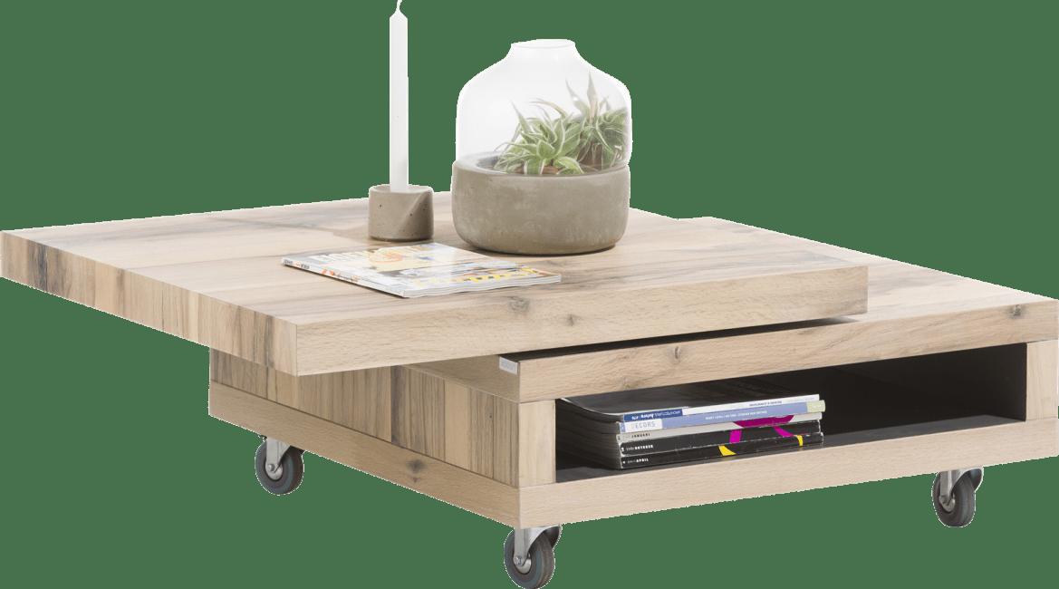 Myland - table basse 80 x 80 cm + 1-niche + plateau pivotant
