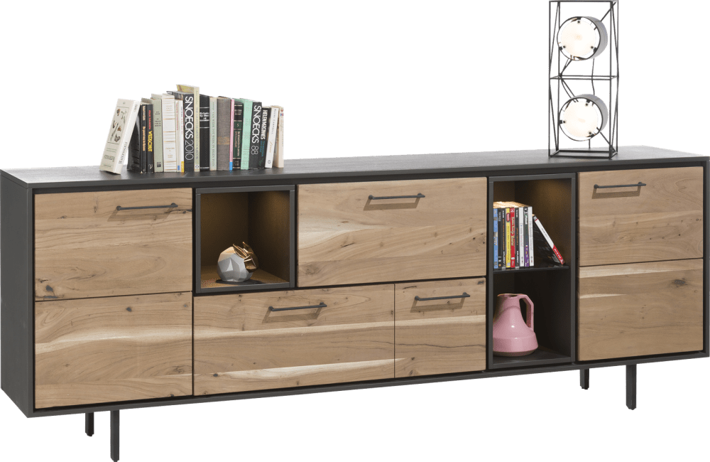 Cenon - dressoir 220 cm - 2-deuren + 2-laden + 3-niches (+ led)