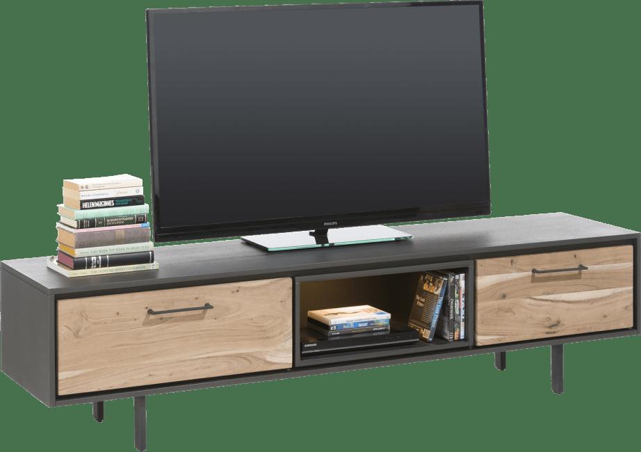 Cenon - meuble tv 180 cm - 1-tiroir + 1-porte rabattante + 1-niche (+ led)