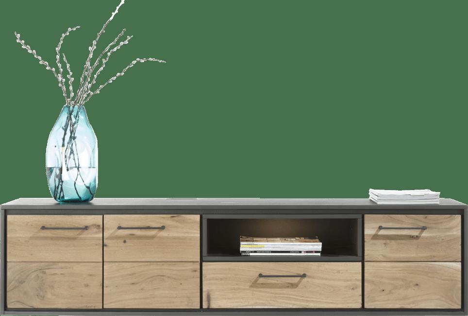 Cenon - lowboard mural 160 cm - 3-portes + 1-tiroir + 1-niche (+led)