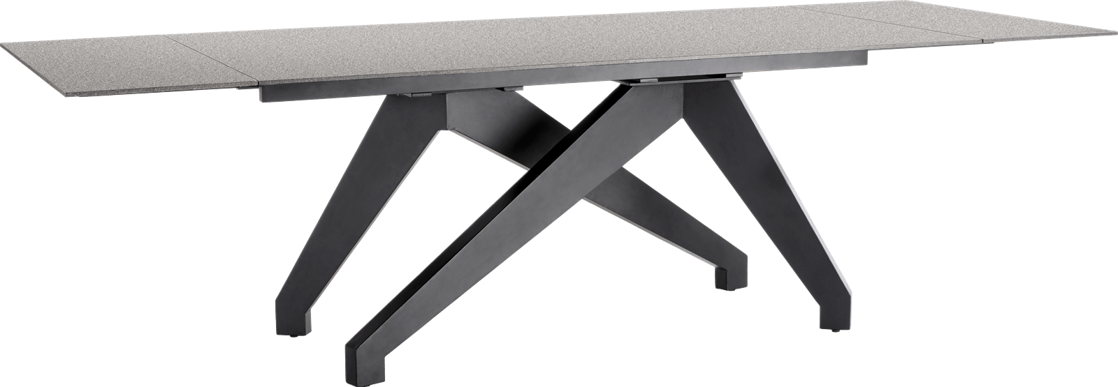 Enzo - table a rallonge (+ 2 x 40) x 100 cm - lava anthracite