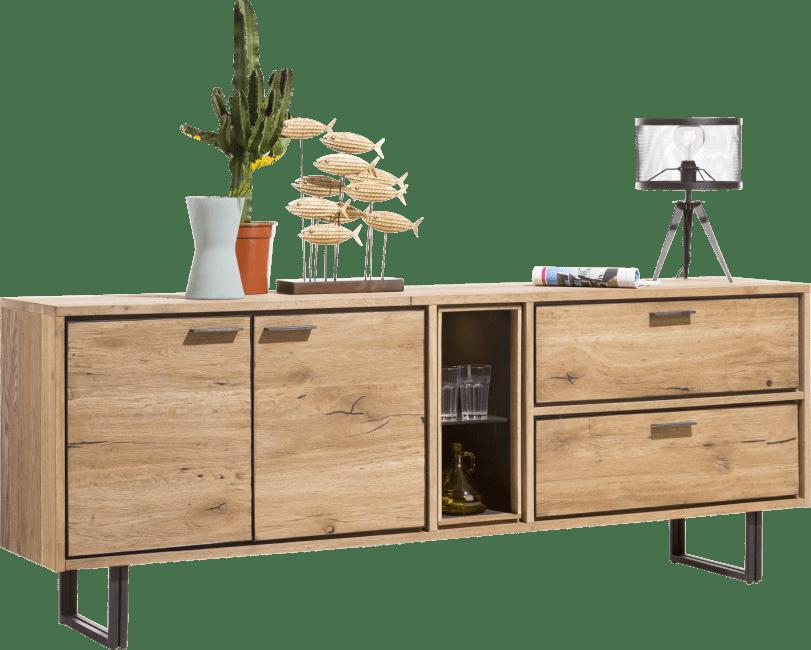 Denmark - dressoir 210 cm - 2-deuren + 2-laden + 2-niches (+led)