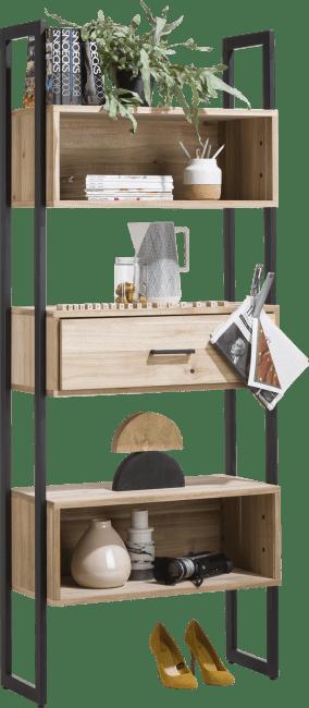 Kinna - boekenkast 80 cm - 1-lade + 5-niches