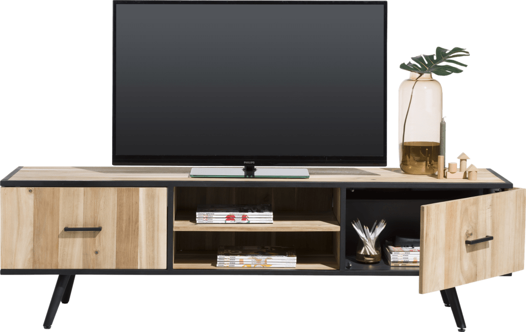 Kinna - tv-dressoir 190 cm - 1-deur + 1-lade + 2-niches