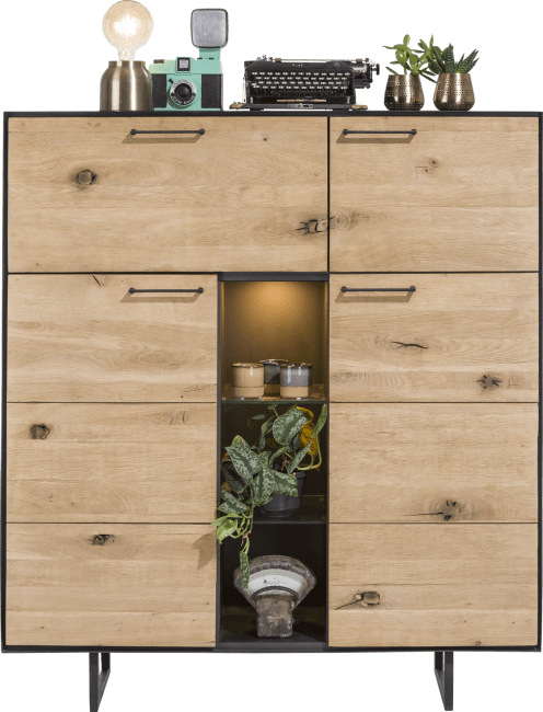Barcini - highboard 3-portes + 1-porte rabattante + 3-niches- 125 cm (+ led)