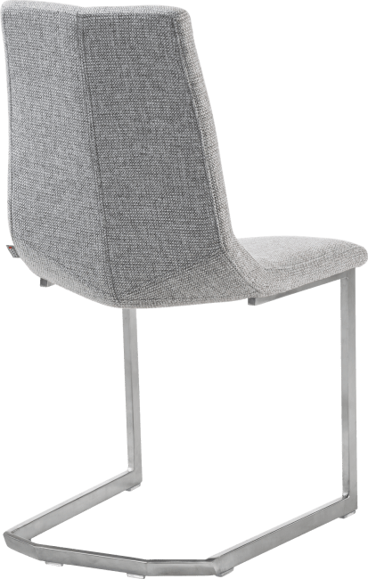 Artella - chaise inox traineau carre + forli gris clair