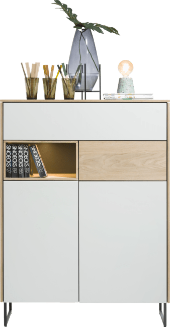 Darwin - highboard 100 cm - 2-tueren + 2-laden + 1-nische (+ led)