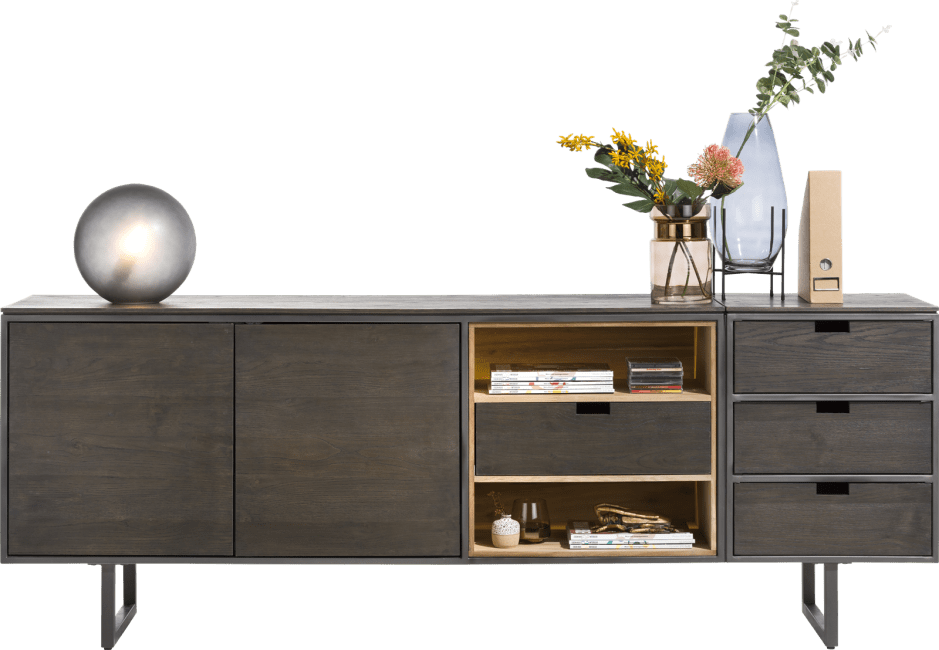 Moniz - dressoir 170 cm - 2-deuren + 2-niches + 1 omkeerbare lade (+ led)