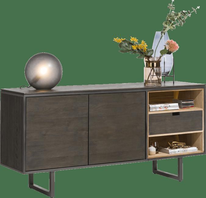 Moniz - sideboard 170 cm - 2-doors + 2-niches + 1 reversible drawer (+ led)