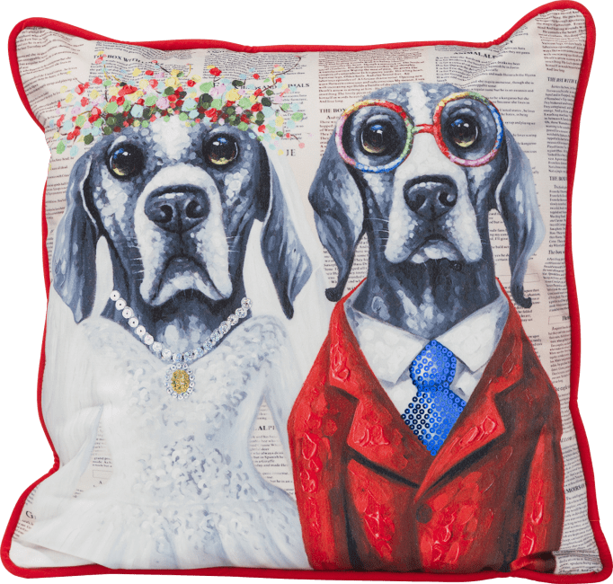 Coco Maison - coussin dog wedding - 45 x 45 cm
