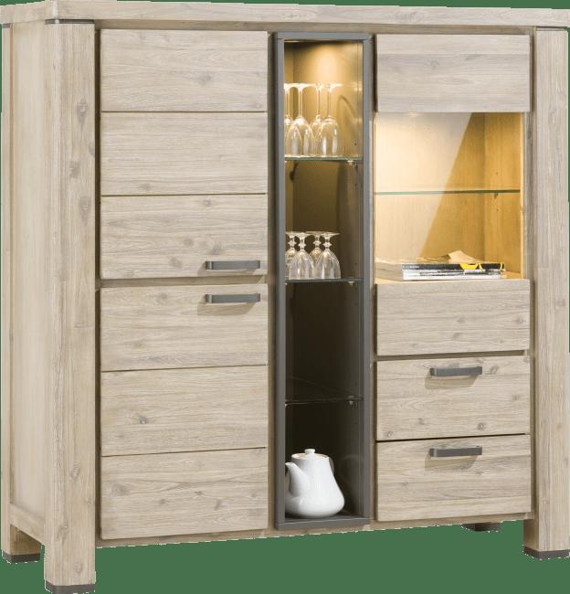 Coiba - highboard 2-deuren + 1-glasdeur + 2-laden + 4-niches (+ led)