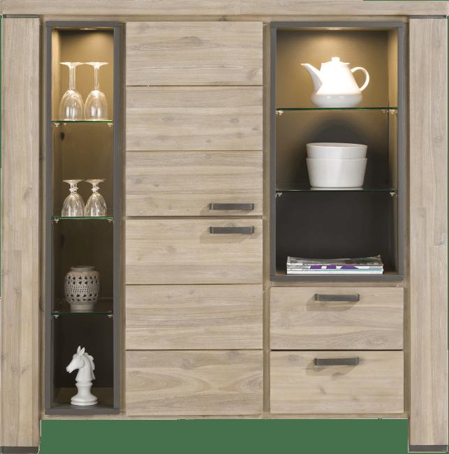 Coiba - highboard 140 cm - 2-deuren + 2-laden + 7-niches (+ led)