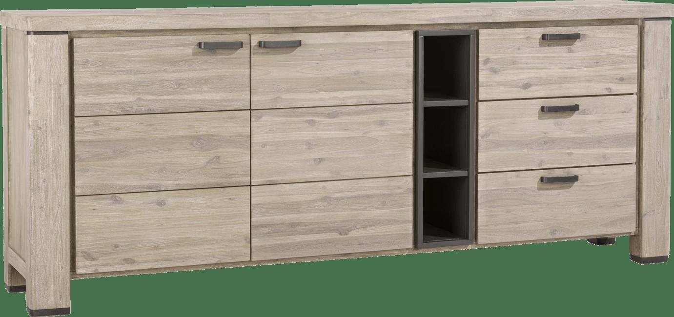 Coiba - dressoir 225 cm - 2-deuren + 3-laden + 3-niches