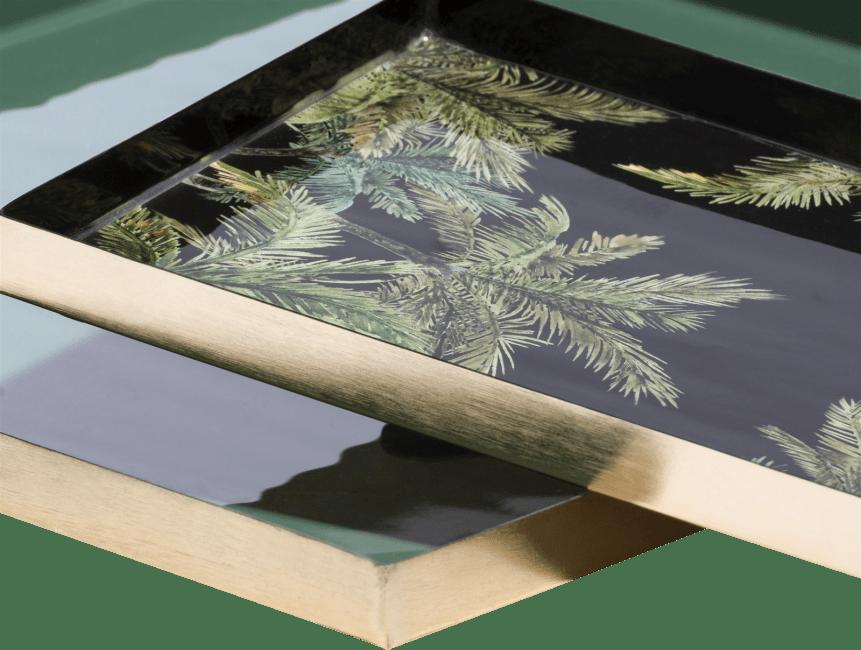 Coco Maison - 2 trays palm - 30 x 30 cm - donkerblauw + print