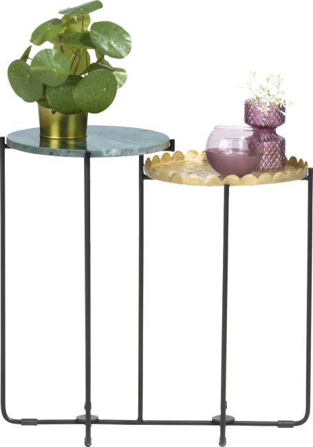 Coco Maison - bout de canape valerie - hauteur 58 cm - vert & or
