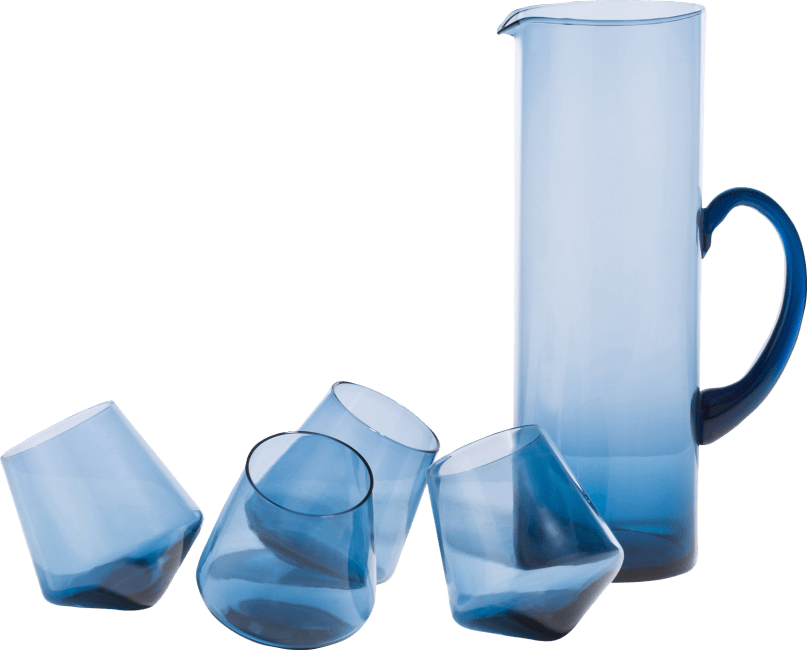 Coco Maison - set caraf & 4 glasses - blauw