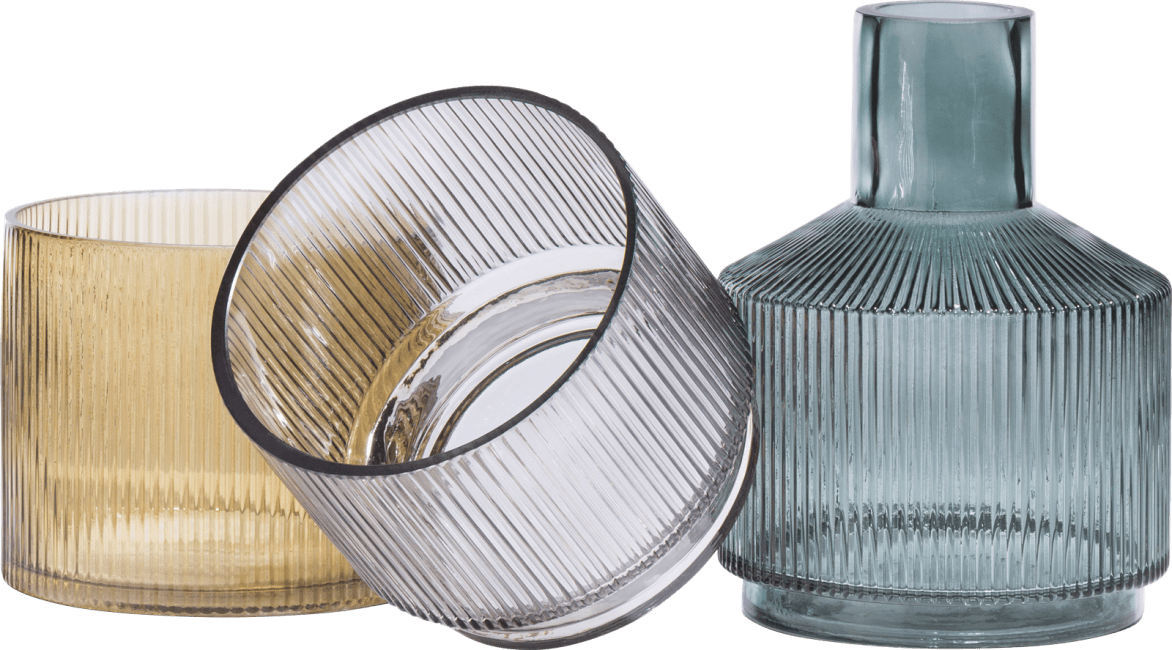 Coco Maison - 3 vazen abigail - groen / grijs / amber combi