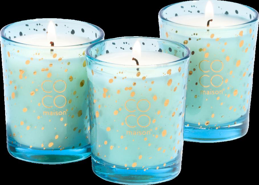 Coco Maison - boute avec 3 bougies d'odeur sapphire lotus