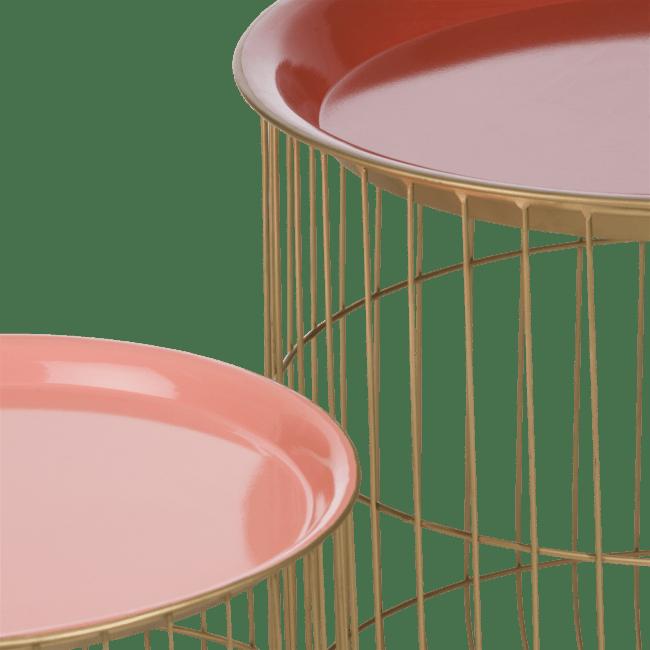 Coco Maison - 2 bijzettafels dana - rood & roze