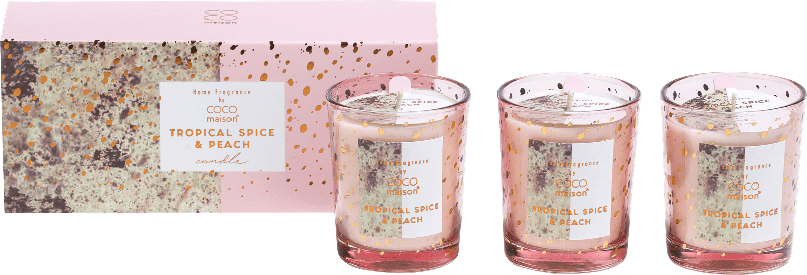 Coco Maison - box with 3 scented candles tropical spice & peach