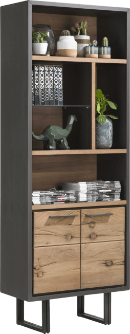 Cladio - boekenkast 70 cm - 2-deuren + 5-niches