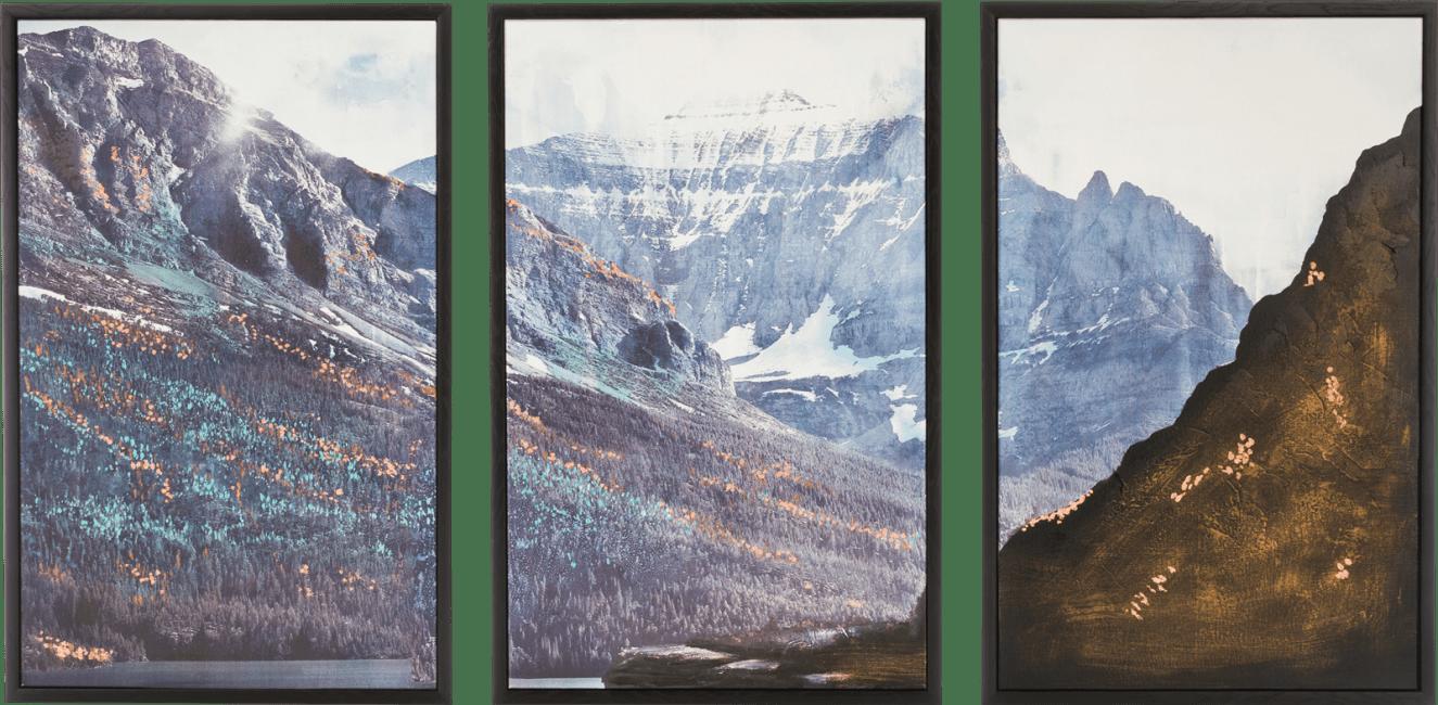 Coco Maison - schilderij set van 3 - mountain view - 78 x 150 cm