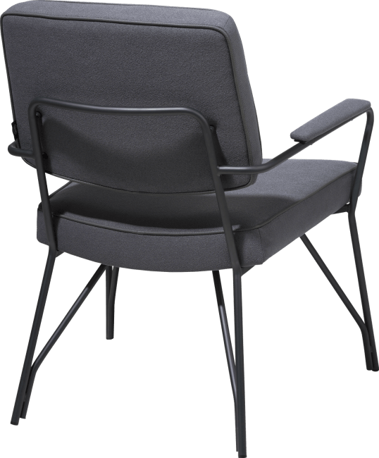 Bruce - bijzetfauteuil zwart frame + stof lana / lederlook tatra