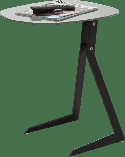Calimero - laptop tafel 50 x 44,5 cm + frame zwart + top glas grijs