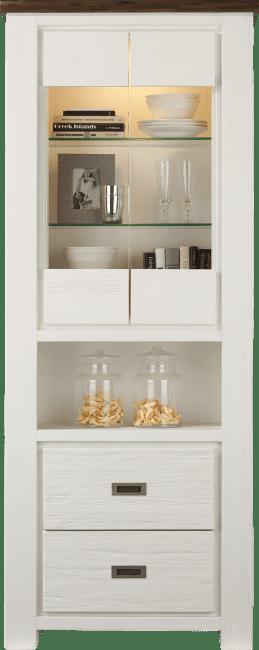 Deaumain - vitrine hoog 2-glasdeuren + 2-laden + 1-niche - 80 cm(+ halogeen)