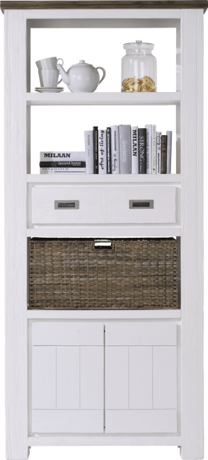 Deaumain - boekenkast hoog 2-deuren + 1-lade + 3-niches + 1-mand - 90 cm