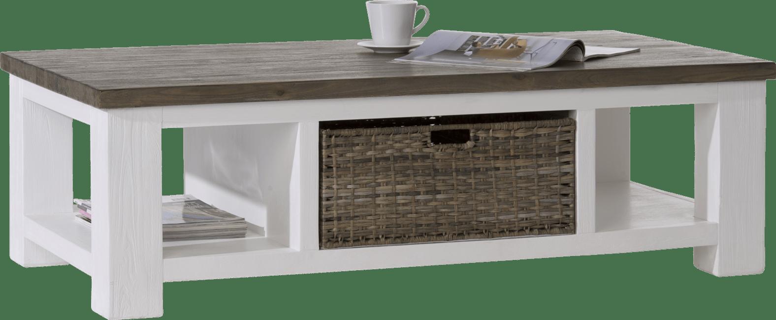 Deaumain - salontafel 130 x 70 cm 1-mand t&t + 2-niches