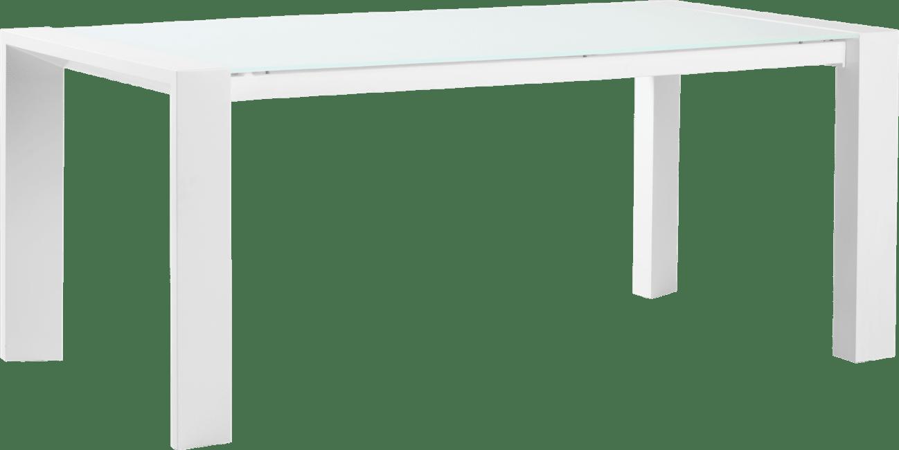 Quadra - eetkamertafel 190 x 90 + metalen poot + ice glass