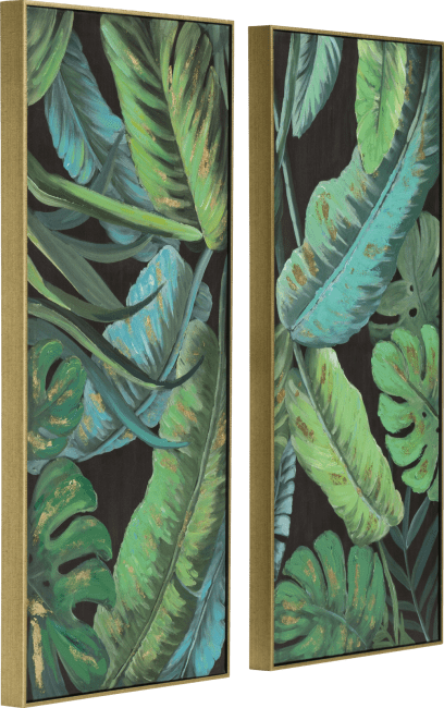 Coco Maison - schilderij 2-delig banana leafs - 50 x 100 cm - goudkleurig frame