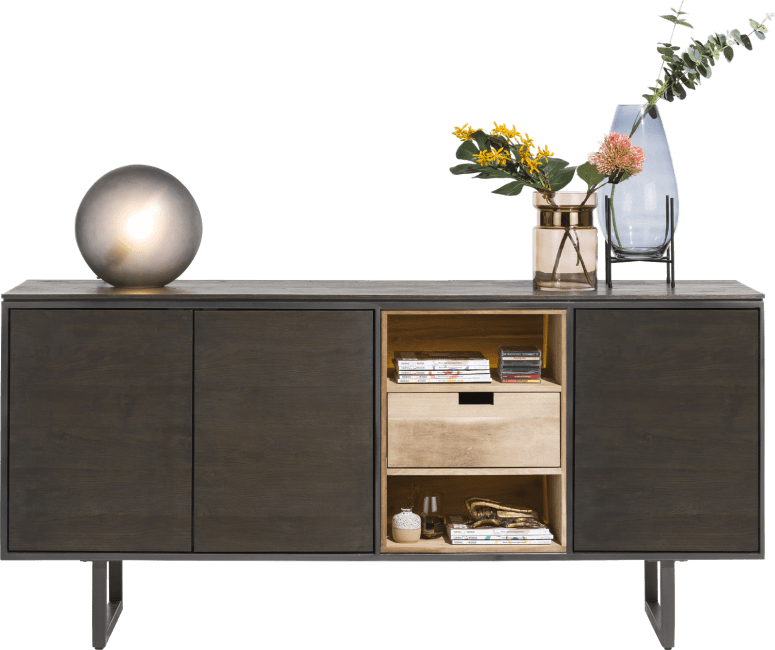 Moniz - sideboard 200 cm - 3-doors + 2-niches + 1 reversible drawer (+ led)