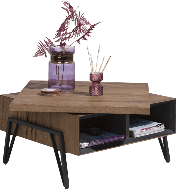 Janella - salontafel 70 x 70 cm + draaibare top - 2-niches
