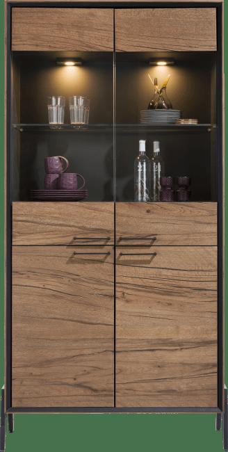 Janella - vitrine 100 cm - 2-glasdeuren + 2-deuren
