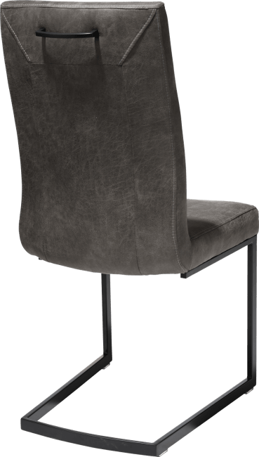Malene - eetkamerstoel - zwart - swing recht + greep recht - stof secillia