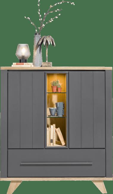 Jardin - highboard 125cm 2-deuren + 1-lade (+ 2 binnenin) + 3-niches (+ led)