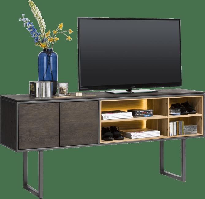 Moniz - tv-kast hoog 180 cm - 2-deuren + 4-niches
