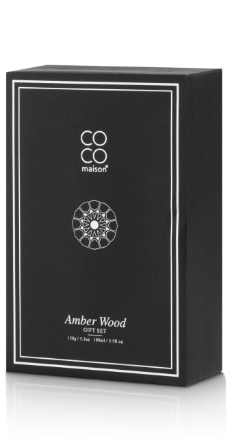 Coco Maison - set cadeau amber wood 150 gr bougie + 100 ml diffuseur d'air