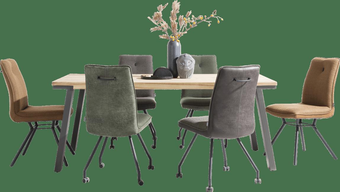 Olav - chaise + roulettes - combination secilia / vito + poignee rond