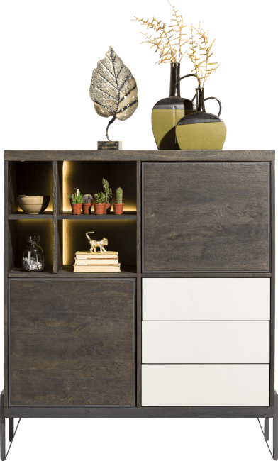 Montpellier - highboard 125 cm - 2-deuren + 3-laden + 4-niches (+ led)