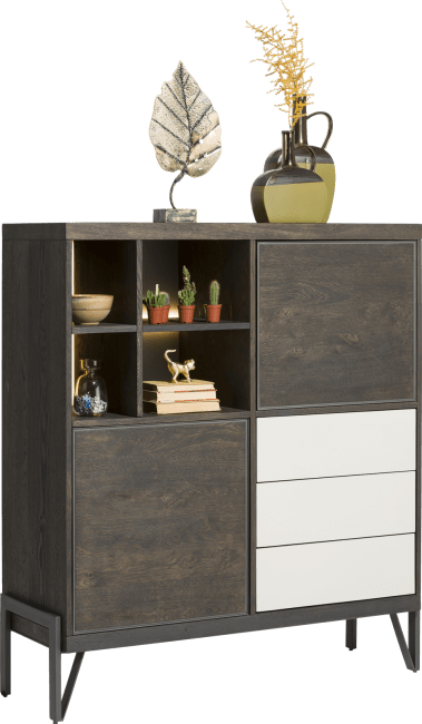Montpellier - highboard 125 cm - 2-portes + 3-tiroirs + 4-niches (+ led)