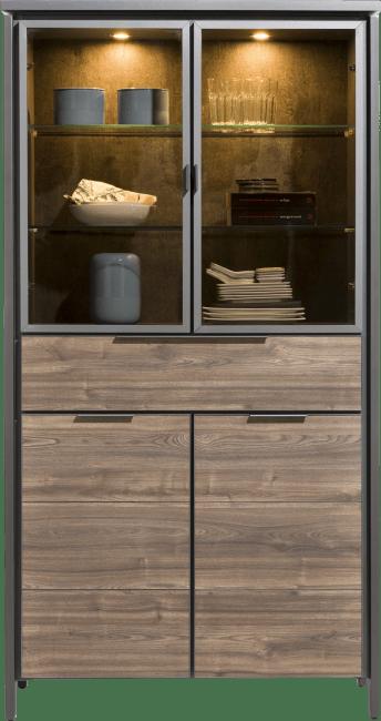 Madeira - vitrine 100 cm - 2-glasdeuren + 2-deuren + 1-lade (+ led)