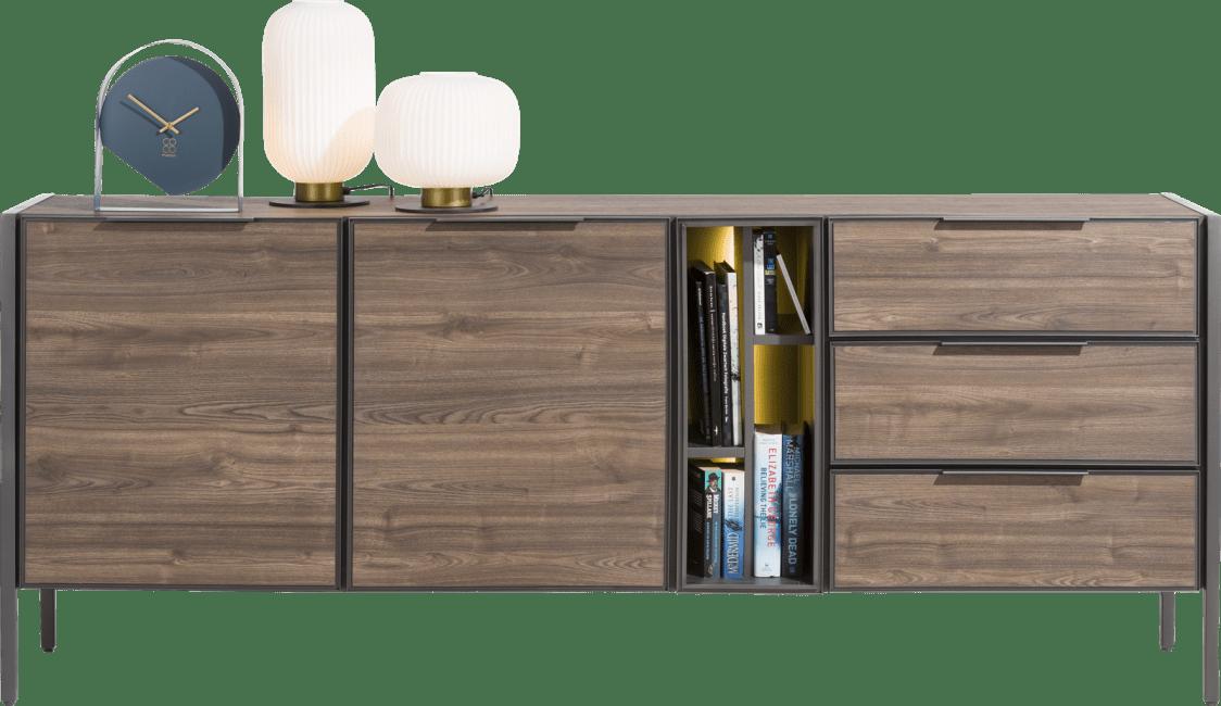 Domani - sideboard 210 cm - 2-tueren + 3-laden + 4-nischen (+ led)