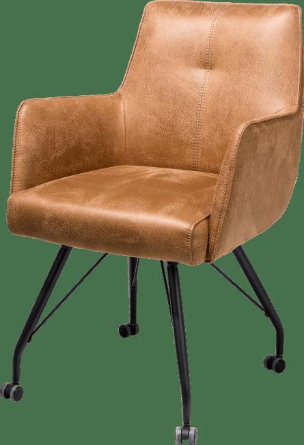 Bodil - fauteuil avec roulettes - ressorts ensaches + poignee - tissu rocky