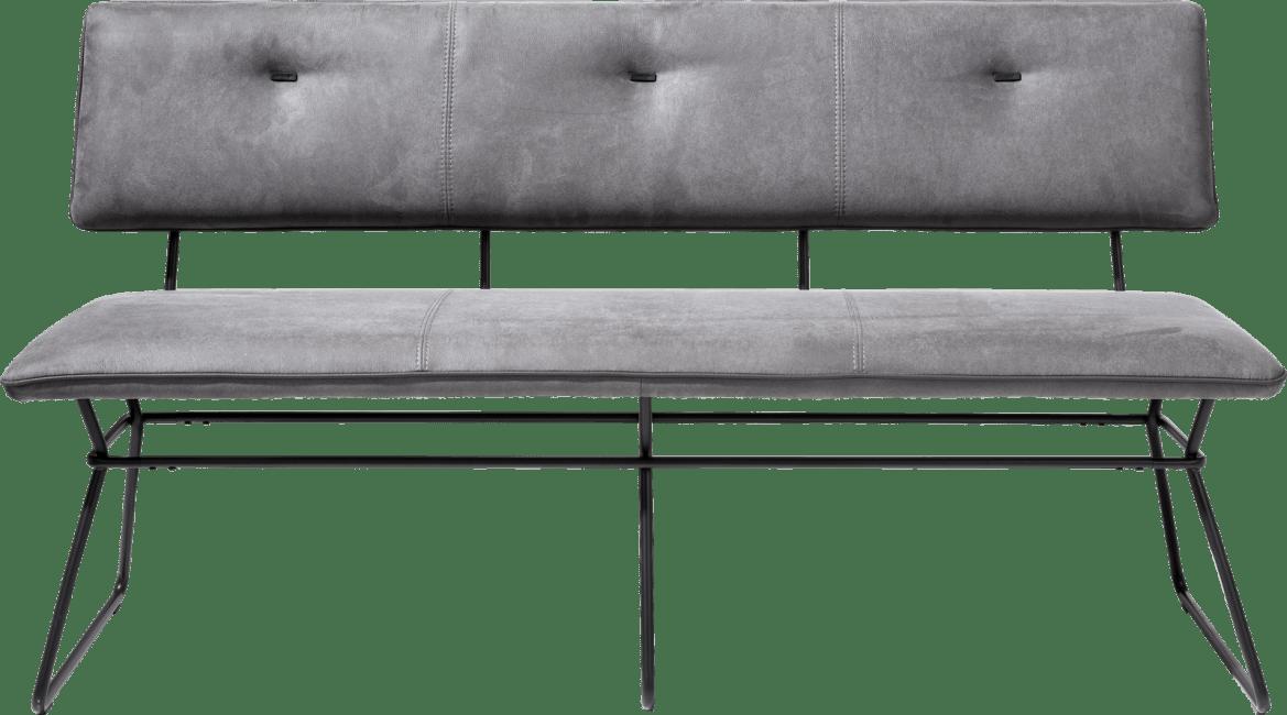 Ollie - bench 160 cm - black frame - kibo anthracite + piping tatra anthrac.
