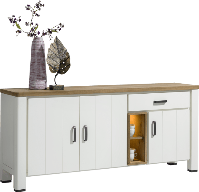 Arizona - dressoir 190 cm - 3-deuren + 1-lade + 2-niches (+ led)