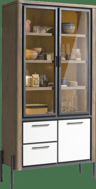Shirley - vitrine 100 cm - 2-glasdeuren + 1-deur + 2-laden (+ led)
