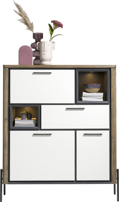 Shirley - highboard 125 cm- 2-portes +1-tiroir +1-porte rab. +2-niche (+led)